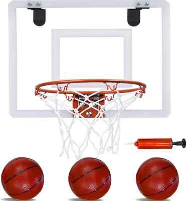 #8. PikDos Indoor Kids Mini Basketball Hoop w/3 Basketballs & Hand Pump for Home Door Wall Mount