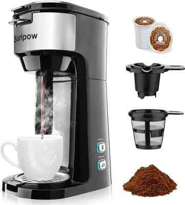 #8. Suripow Fast Brewing Strength Control & Self-Cleaning Function Small Coffee Machine Single Serve