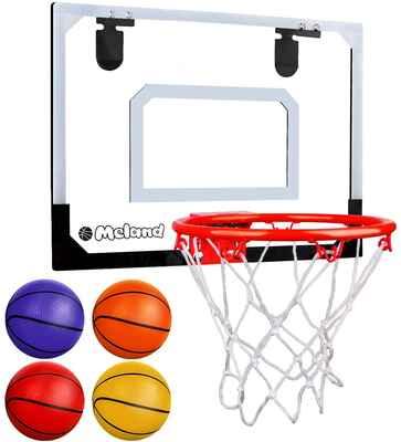 #6. Meland Indoor Basketball Hoop for Door w/3 Balls & Complete Basketball Accessories for Teens