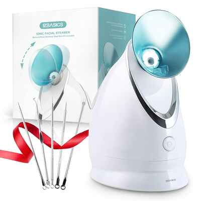 #5. EZBASICS Blue Facial Steamer Nano Ionic, Unclogs Pores, Warm Mist Home Facial Humidifier Atomizer