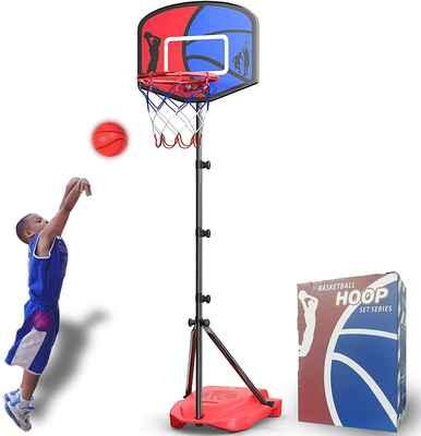 #3. HAHAKEE Adjustable Kids Basketball Hoop Set Sports Game Net, Sandbag, Ball, & Air Pump
