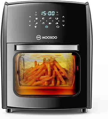#8. MOOSOO 12.7Qt 1700W 8-in-1 Electric Rotisserie Oven w/LED Digital Touchscreen & Toaster Oven