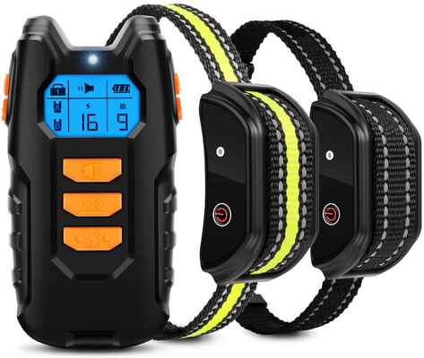 #5. FLITTOR Waterproof 2 Receiver Shock Dog Training Collar w/Remote & Beep Vibration