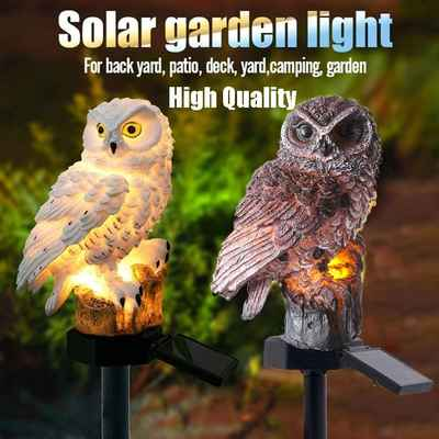 #8. Tooeary White LED Owl Yard Ornament Outdoor Lawn Lamp Lighting Solar Garden Light