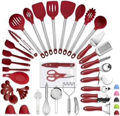 #1 VEICA 42Pcs Non-Stick Spoon Soup Nylon Heat Resistant Kitchen Utensils Set (Rednew)