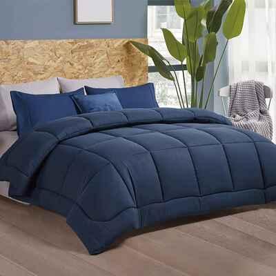 #5. Bedsure King Size Navy Blue Comforter Duvet Insert Quilted Bedding Comforter