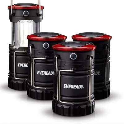 #3. Eveready 4 Pack IPX4 Water-Resistant 360 LED Super Bright LED Camping Lantern (Black)