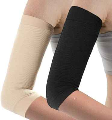 #10. Dproty 2 Pair Arm Shaping Sleeves for Women Fat Burning (Black & Beige)