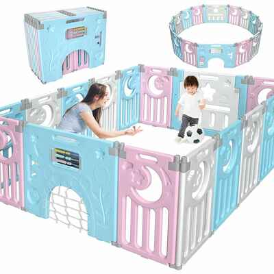 #6. Gimars 16-Panel Play Yard Upgrade Double Anti-Slip Foldable Baby Playpen Fence (Blue & White)