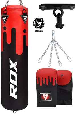 #1. RDX Unfilled Muay Thai Punching Bag w/Punching Training Gloves & Hanging Chain for Martial Arts