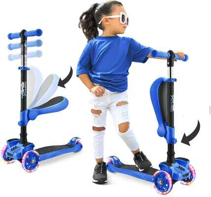 #10. Hurtle 3-Wheeled LED Adjustable Lean-to-steer Handlebar Electric Scooter for Kids Age 1 – 14 Yrs.