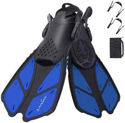 #3. OMGear Travel Size Open Heel Adjustable Swim Fins Snorkel for Lap Swimming