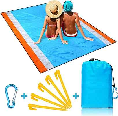 #8. Naohiro Lightweight Quick Drying Extra-Large Sand-Free Beach Blanket for Travel, Camping & Hiking