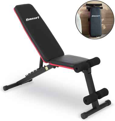 #4. Komsurf Foldable Adjustable Weight Full Body Workout Strength Training Weight Bench Press