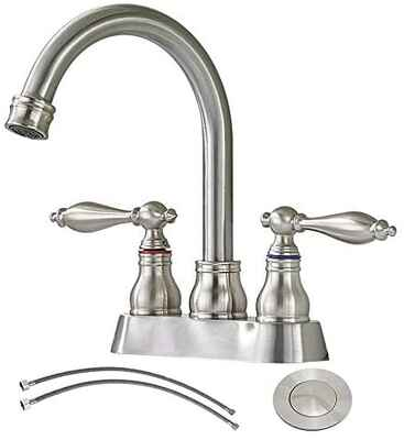 #8. SHACO 4'' 2 Handle 360 Degree Swivel Spout Brushed Nickel Lead-Free Bathroom Sink Faucet