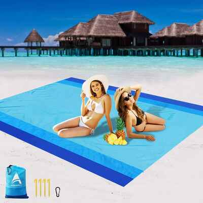 #9. AISPARKY Outdoor Sand-Proof Picnic Large Compact Beach Blanket w/Nylon Pocket for Travel