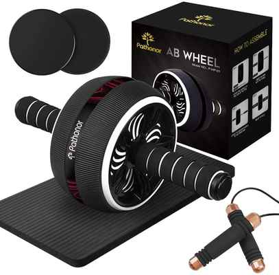 #7. PATHONOR 40-in-1 Women Men Core Ab Roller Wheel Kit for Abdominal Exercise