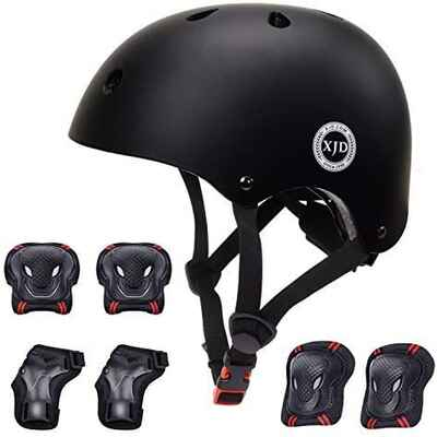 #4. XJD CPSC Certified Helmet Elbow Pads Wrist Guards Knee Pads Protective Set for Toddlers