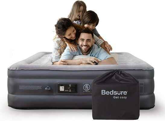 #6. Bedsure 18'' Raised Queen Built-in Pump Double Inflatable Air Mattress for Indoor Use