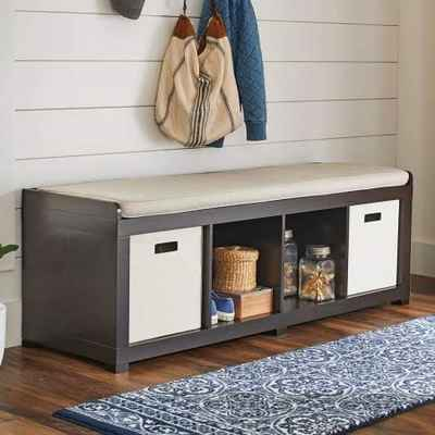#2. BHG 4-Cube Espresso Better Homes & Garden 4 Cube Storage Organizer Bench