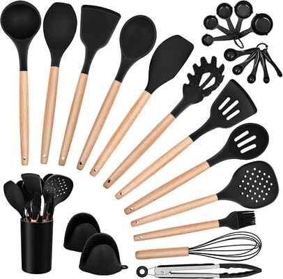 #4 Homikit Non-Stick 25Pcs Kitchen Tool Gadgets Kitchen Cooking Utensils Set w/Holder