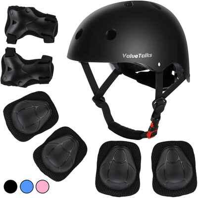 #10. ValueTalks Helmet Pad Wrist Guards Elbow Pads & Knee Pads Kid's Protective Gear Set