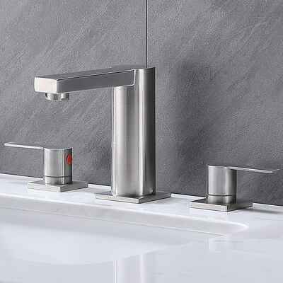#2. Ufaucet Stainless Steel Widespread 2 Handle 3 Holes Modern Commercial Nickel Bathroom Faucet