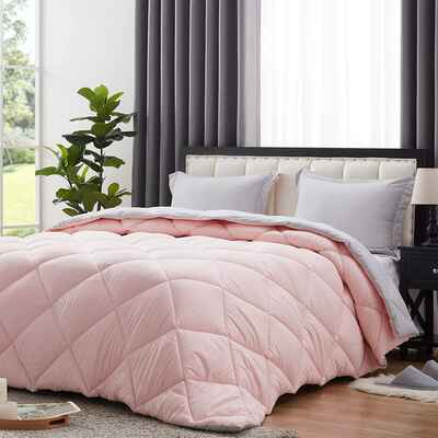 #3. NexHome King Blush Pink/Light Grey Reversible Hypoallergenic Down Alternative Quilted Comforter