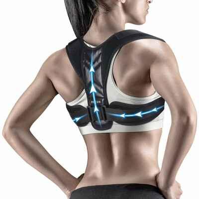 #9. Fricon Black Upper Back Brace Clavicle Support Comfortable Posture Corrector for Men & Women