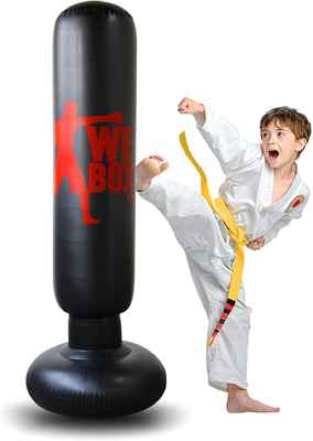 #4. Locsee 63'' Free Standing Boxing Target Bag Inflatable Boxing Punching Bag for Kids/Adults