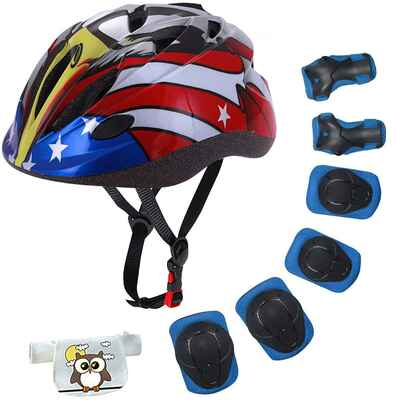 #5. Lamsion Helmet, Wrist Pads, Knee & Elbow Pads Sports Protective Gear Set for Kids Age 4 to 10 Years