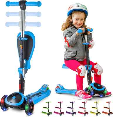 #9. S SKIDEE Adjustable Height 3-LED Wheels Foldable & Removable Seat Scooter for Kids 2 – 12 Yrs. Old