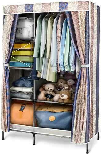 #10. IDAB Portable Clothes Storage Organizer Clothes Wardrobe Closet (Black Pattern)