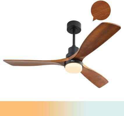 #1. Sofucor 3 Blades Noiseless Motor Solid Walnut Wood Ceiling Fan w/Lights (Matte Black)