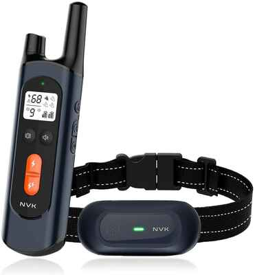 #9. NVK 1600 Ft Remote Range Rechargeable Waterproof Dog Training Collar